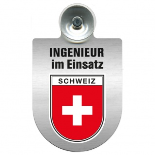 Einsatzschild Windschutzscheibe incl. Saugnapf - Ingenieur im Einsatz - 309743 Region Schweiz