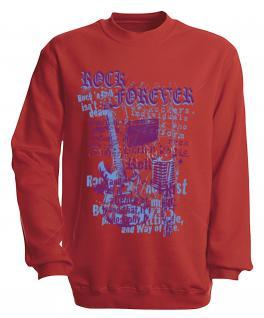 Sweatshirt mit Print - Rock forever - S10254 - versch. farben zur Wahl - Gr. rot / XXL