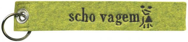 Filz-Schlüsselanhänger mit Stick scho vagem Gr. ca. 19x3cm 14013 grün