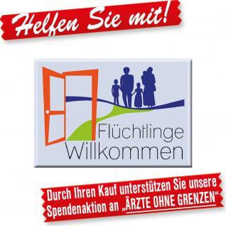 MAGNET mit Motiv - FLÜCHTLINGE WILLKOMMEN - Gr. ca. 8cm x 5, 5cm - 37646 - Küchenmagnet