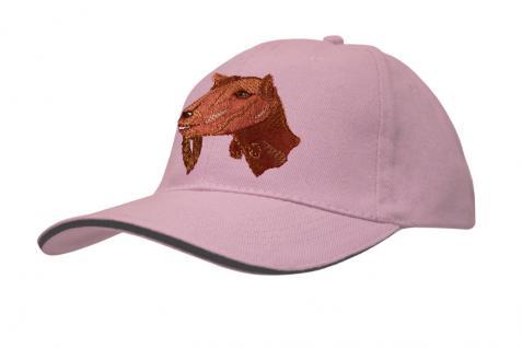 Cap mit gr. Ziegen - Stick - Ziegenkopf - 69247-3 rosa - Baumwollcap Baseballcap Hut Cappy Schirmmütze