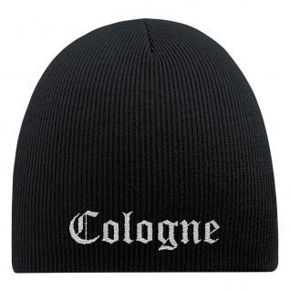 Beanie-Mütze mit Einstickung - COLOGNE - Wollmütze Wintermütze - 54582 schwarz - Vorschau