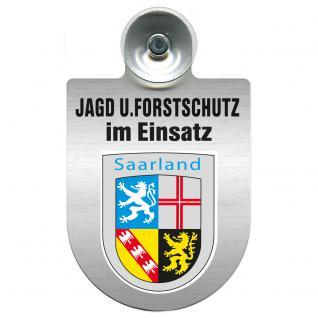 Einsatzschild für Windschutzscheibe incl. Saugnapf - Jagd + Forstschutz im Einsatz - 309729-10 Region Saarland - Vorschau