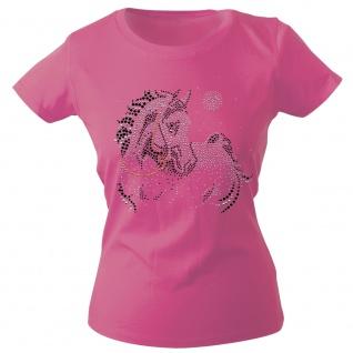 Girly-Shirt mit Strasssteinen Glitzer Pferd Horse Stute G88332 Gr. rosa / XXL