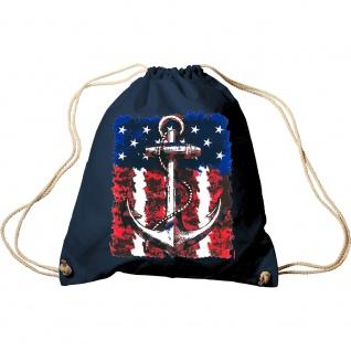 Sporttasche Turnbeutel Trend-Bag Print Maritim Anchor Anker USA Flagge TB12128 Navy