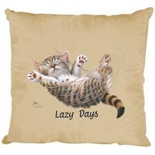 Kissen Dekokissen mit Print Katze Cat Lazy Days KA050