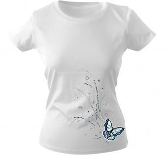 Girly-Shirt mit Print - Schmetterling - 12854 - versch. farben zur Wahl - weiß / L