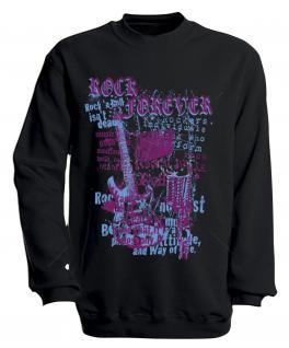 Sweatshirt mit Print - Rock forever - S10254 - versch. farben zur Wahl - Gr. schwarz / M