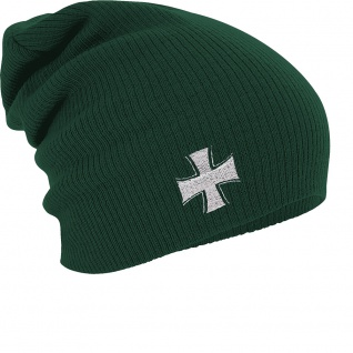 Longbeanie Slouch-Beanie Mütze Eisernes Kreuz 54559 grün
