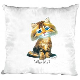 Kissen Dekokissen mit Print - Katze Cat Kätzchen Who me ? - 11684 versch. Farben