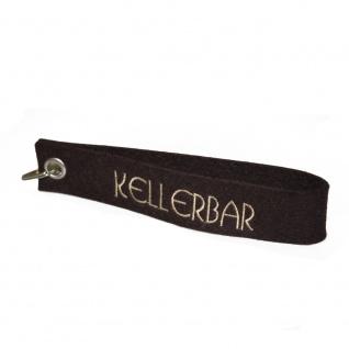 Filz-Schlüsselanhänger mit Stick Kellerbar Gr. ca. 17x3cm 14417 schwarz