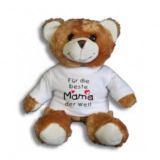 Teddybär mit Shirt - Für die beste Mama der Welt - Größe ca 26cm - 27047 dunkelbraun