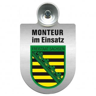 Einsatzschild Windschutzscheibe incl. Saugnapf - Monteur im Einsatz - 309741 Region Freistaat Sachsen