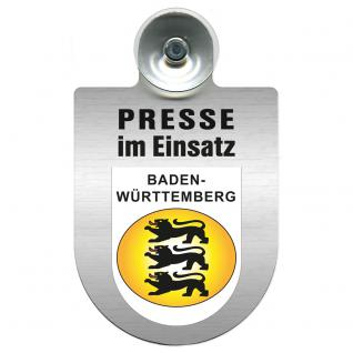 Einsatzschild Windschutzscheibe incl. Saugnapf - Presse im Einsatz - 309456-1 Region Baden-Württemberg