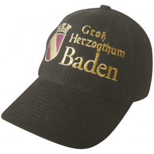 Baumwollcappy - Cap mit gr. stylischer Bestickung - Großherzogthum Baden - 68943 - schwarz - Baumwollcap Baseballcap Schirmmütze Hut