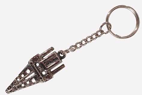 Metall- Schlüsselanhänger mit plastischem Feuerwehrmotiv - Kette und starkem Schlüsselring - 02315