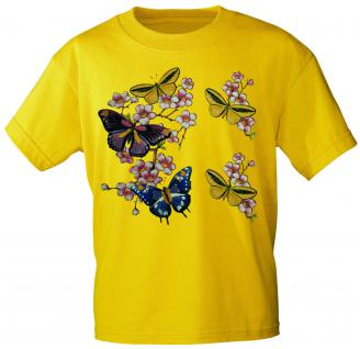 Kinder T-Shirt mit Print - Schmetterlinge - 06991 - gelb - Gr. 152/164