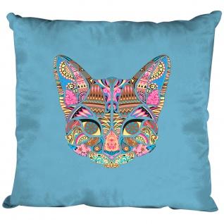 Kissen Dekokissen mit Print - Katze Cat Mandala - 11682 versch. Farben hellblau