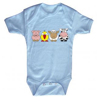 Babystrampler mit Print - Ferkel Vogel Schaf Kuh - 08498 hellblau Gr. 6-12 Monate