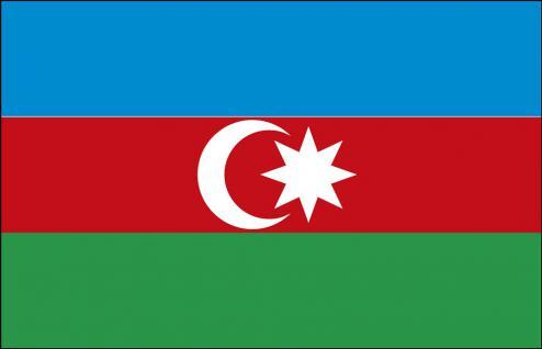 Landerfahne Stockländerfahne - Aserbaidschan - Gr. ca. 40x30cm - 77016