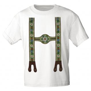 KINDER T-Shirt mit Print - Lederhose Hosenträger Blumen Edelweiß - 08231 Gr. weiß / 110/116