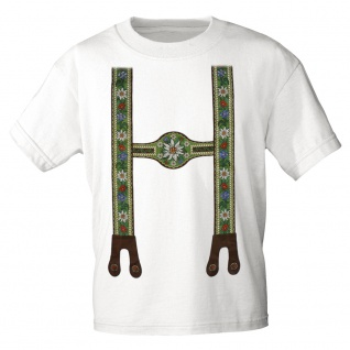 KINDER T-Shirt mit Print - Lederhose Hosenträger Blumen Edelweiß - 08231 Gr. weiß / 152/164