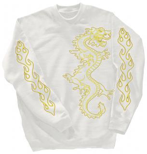 Sweatshirt mit Print - Drache Drake - 10114 - versch. farben zur Wahl - weiß / S