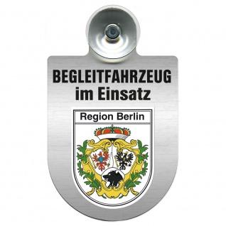 Einsatzschild Windschutzscheibe incl. Saugnapf - Begleitfahrzeug im Einsatz - 309457 - Region Berlin