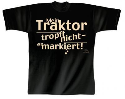 T-Shirt mit Print - Mein Traktor tropft nicht, er markiert - 10572 schwarz - Gr. M