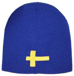 Beanie-Mütze mit Einstickung - SCHWEDEN - Wollmütze Wintermütze Strickmütze - 54598 blau