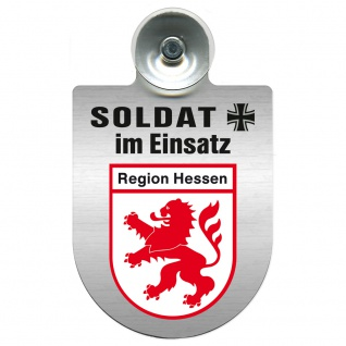Einsatzschild Windschutzscheibe incl. Saugnapf - Soldat im Einsatz - 309392 - Region Hessen