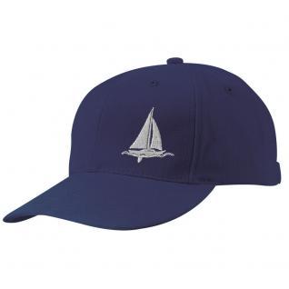 Kappe-Schirmmütze mit kl. Bestickung - Segelschiff auf See - 68819-1 navy - Baumwollcap Baseballcap Hut Cap Cappy