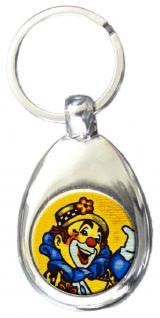 Metall-Schlüsselanhänger mit Einkaufswagen-Chip - CLOWN - Größe ca. 3 x 7 cm - 13464 - Schlüsselanhänger aus Metall
