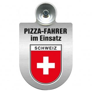 Einsatzschild Windschutzscheibe incl. Saugnapf - Pizzafahrer im Einsatz - 309742 Region Schweiz