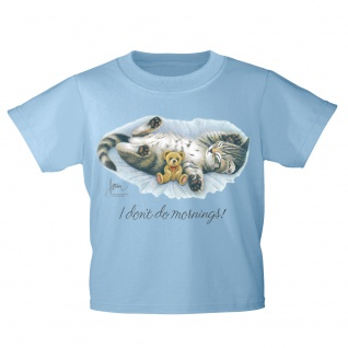 Kinder T-Shirt mit Print Cat Katze i don´t do mornings KA070/1 Gr. 128-164
