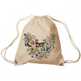 Trend-Bag Turnbeutel Sporttasche Rucksack mit Print -Blumen und Schmetterlinge - TB65321 natur