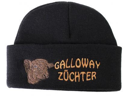HIP-HOP Mütze Strickmütze mit Einstickung - Galloway Züchter - 50920 schwarz