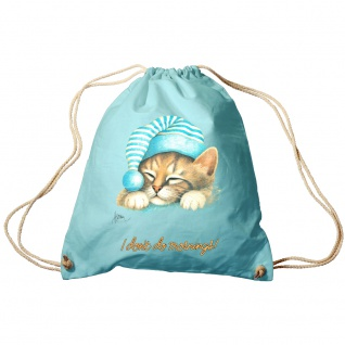 Sporttasche Turnbeutel Trend-Bag Print Cat Katze i don´t do mornings - KA057/2 hellblau