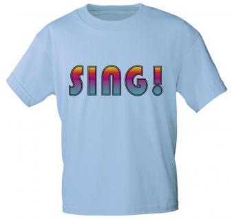 T-Shirt unisex mit Print - SING - 09845 hellblau - Gr. XXL