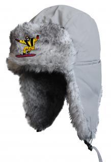 Chapka Fliegermütze Pilotenmütze Fellmütze in grau mit 28 verschiedenen Emblemen 60015 Snowboarder 2