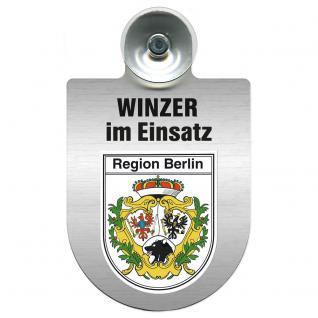 Einsatzschild Windschutzscheibe incl. Saugnapf - Winzer im Einsatz - 309466- incl. Regionen nach Wahl Region Berlin