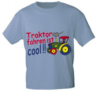 Kinder T-Shirt mit Aufdruck - TRAKTOR FAHREN IST COOL - 08233 - Gr. 86 - 164 in 5 Farben hellblau / 122/128
