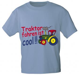 Kinder T-Shirt mit Aufdruck - TRAKTOR FAHREN IST COOL - 08233 - Gr. 86 - 164 in 5 Farben hellblau / 98/104
