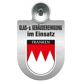 Einsatzschild für Windschutzscheibe incl. Saugnapf - Glas- u. Gebäudereinigung im Einsatz - 309399-18 Region Franken