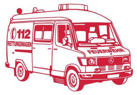 Aufkleber Wandapplikation - Rettungswagen - AP1011 - versch. Farben und Größen rot / 70cm