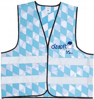 Warnweste mit Vorder- und Rückenprint - O´zapft is - 10318 hellblau-weiß - Vorschau 1