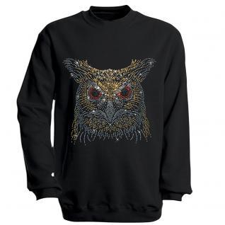 Sweatshirt mit Print - Eule - schwarz - S12891 - Gr. M