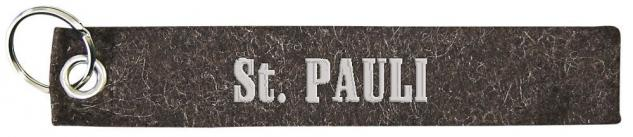Filz-Schlüsselanhänger mit Stick St. Pauli Gr. ca. 17x3cm 14225 grau