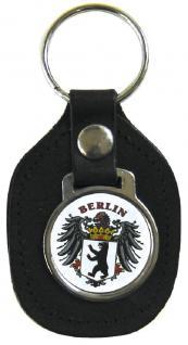 Leder- Schlüsselanhänger mit Button - Wappen Berlin - Gr. ca. 5x7cm - 06203 - Keyholder mit Metallplakette