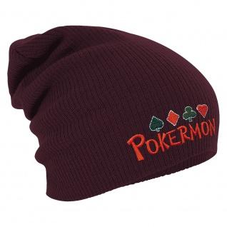 Longbeanie Slouch-Beanie Wintermütze Pokermon 54865 bordeaux